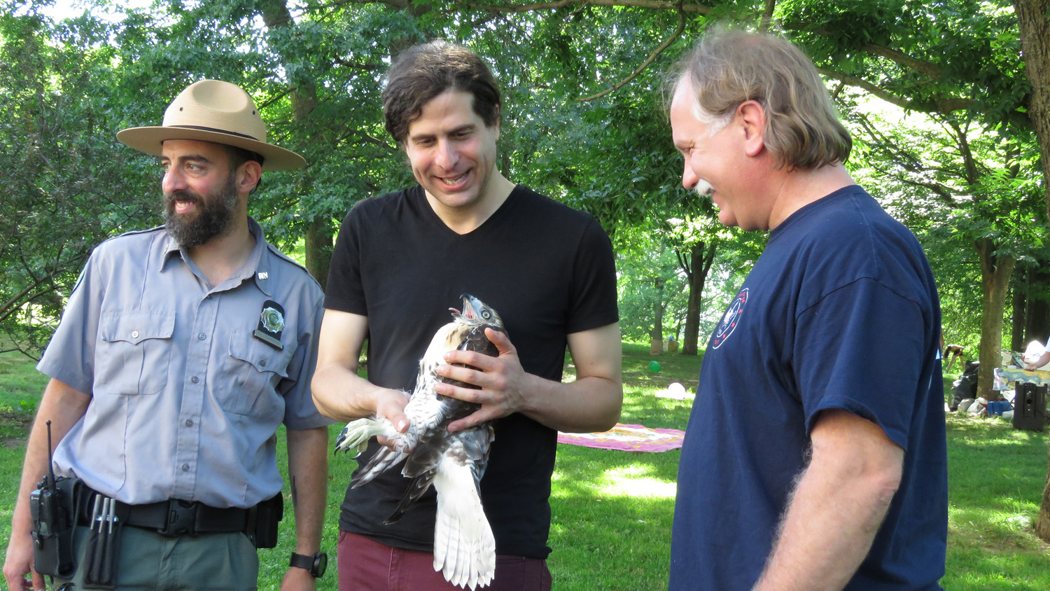 Hope with Ranger Dan Tainow and Sgt. Rob Mastrianni of the Urban Park Rangers and Bobby Horvath of WINORR, June 16