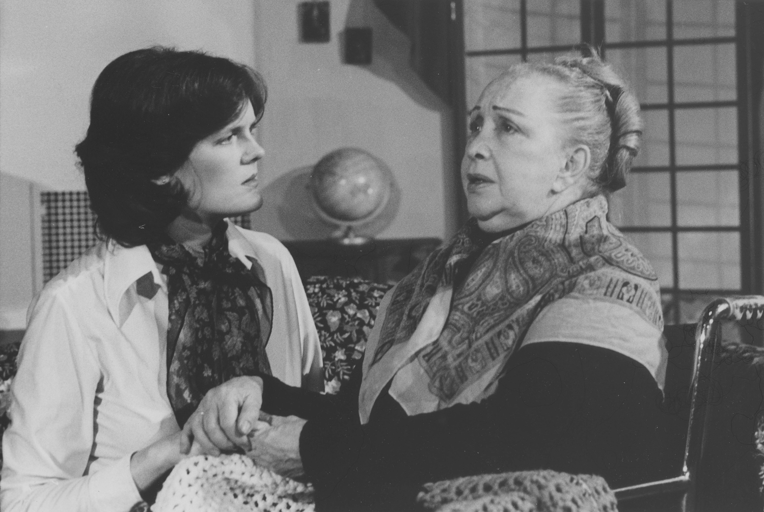 As Inez Cabral in  I've Got Sixpence , with Violet Lane as Mrs. Entwhistle, 1980. Photo by Sandy Geis