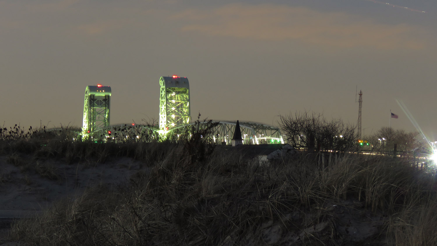 Gil Hodges Bridge after sunset, taken from the beach at Fort Tilden, Queens, February 5, 2019. Time exposure, 15 seconds