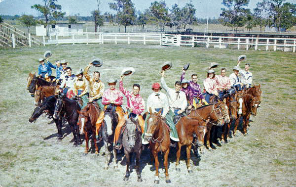 """""""The famous silver spurs horseback quadrille comprised of sixteen horses and riders representing renowned families who names are found throughout the pages of history of the South's cattle industry, performing at Semi-annual Kissimmee Rodeos and command performances for many noteables, Kissimmee, Fla""""  Hannau, H. W. Famous Silver Spurs Horseback Quadrille. 19--. Color postcard, 9 x 14 cm. State Archives of Florida, Florida Memory. <https://www.floridamemory.com/items/show/163016>, accessed 17 April 2018."""