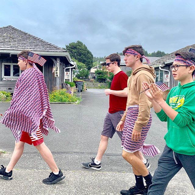 "Happy 4th (ok 5th) from the ""Reservoir Dogs"" of Cannon Beach! The best part of the parade: Cougar Gold Cheesehead!"