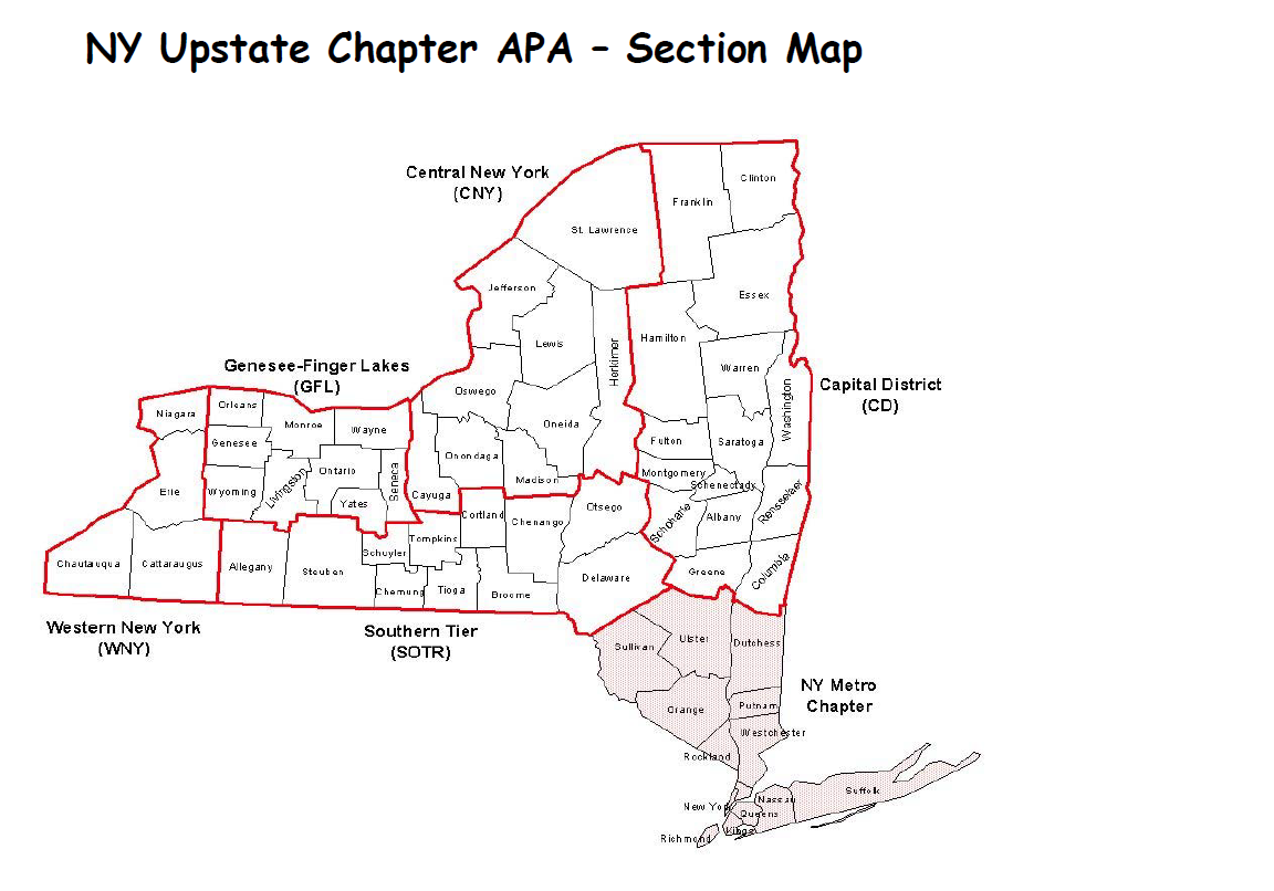 Map Of New York Upstate.Section Map American Planning Association Ny Upstate Chapter