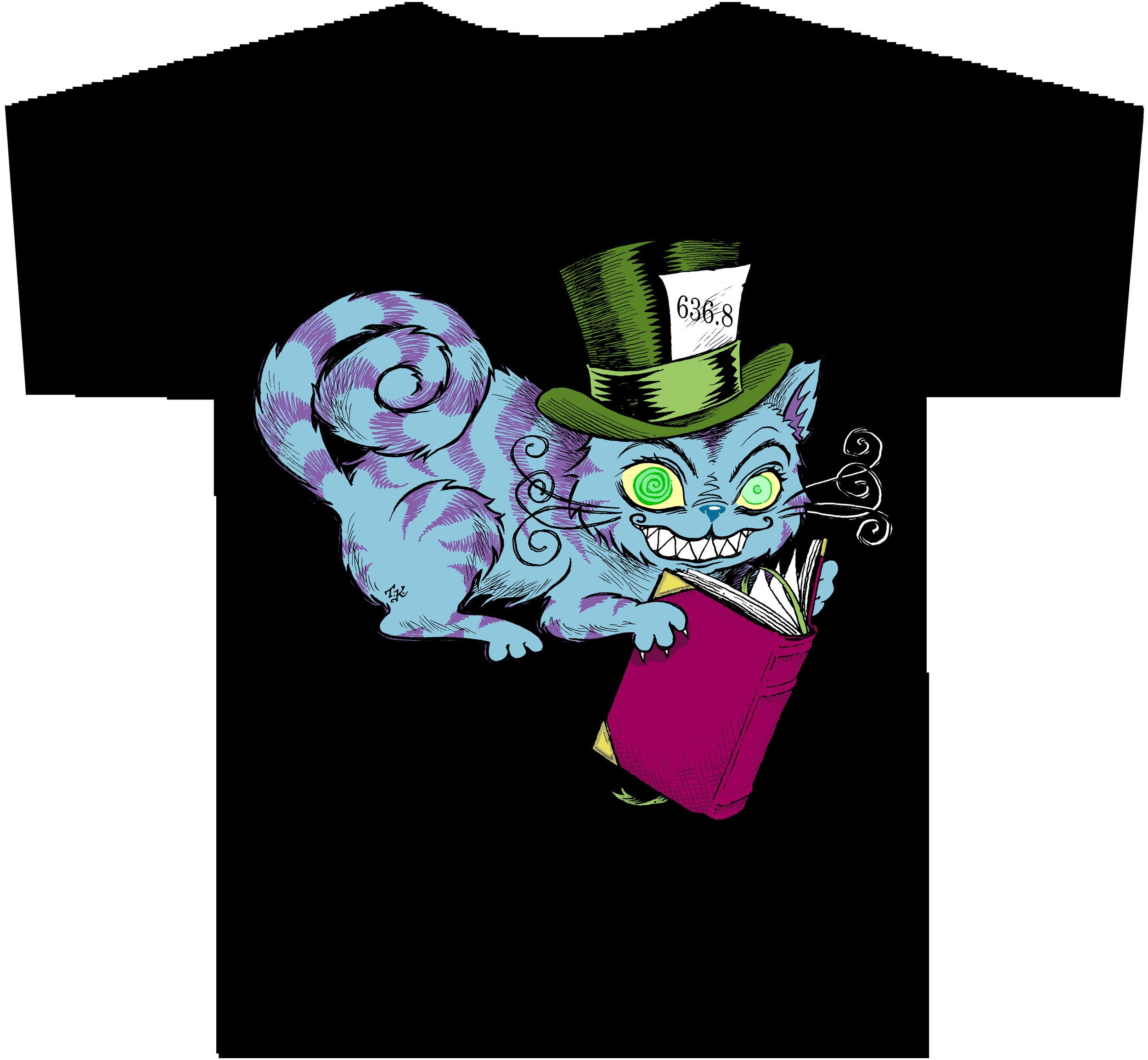 CHESHIRE CAT With Dewey Decimal Number T-Shirt