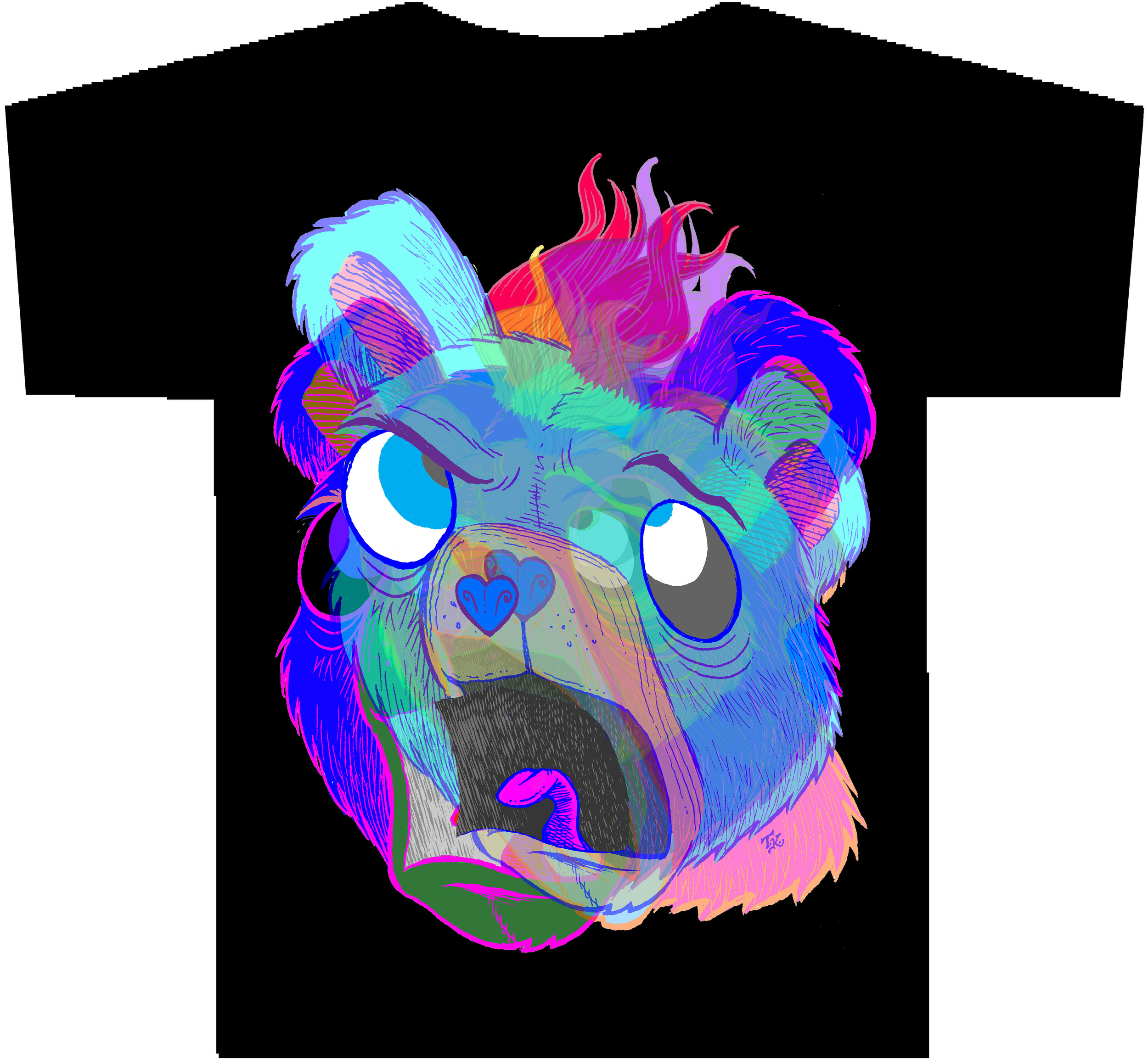 PSYCHEDELIC SCREAMING BEAR T-Shirt