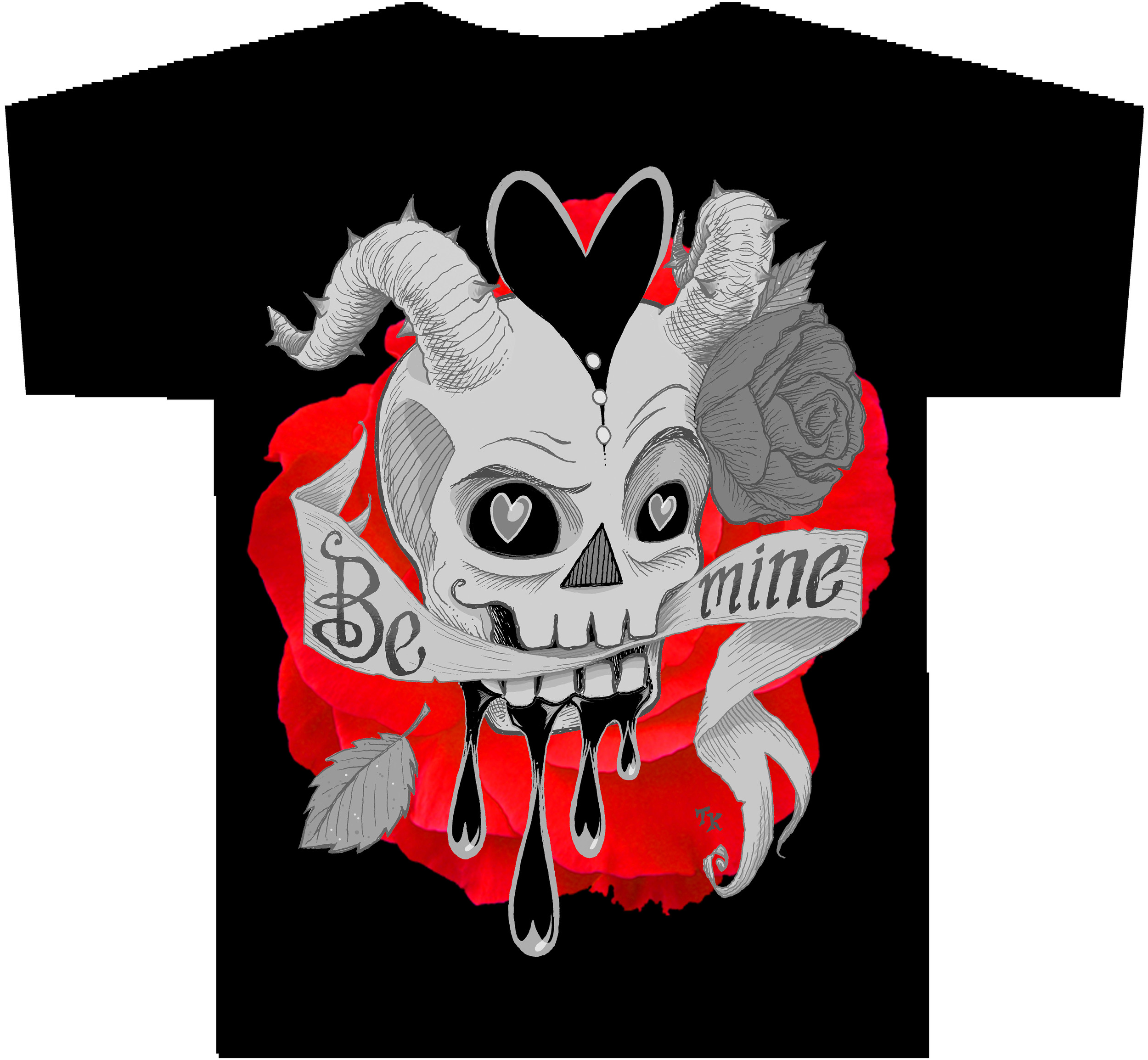 """SKULLENTINE"" (greyscale version) T-Shirt"