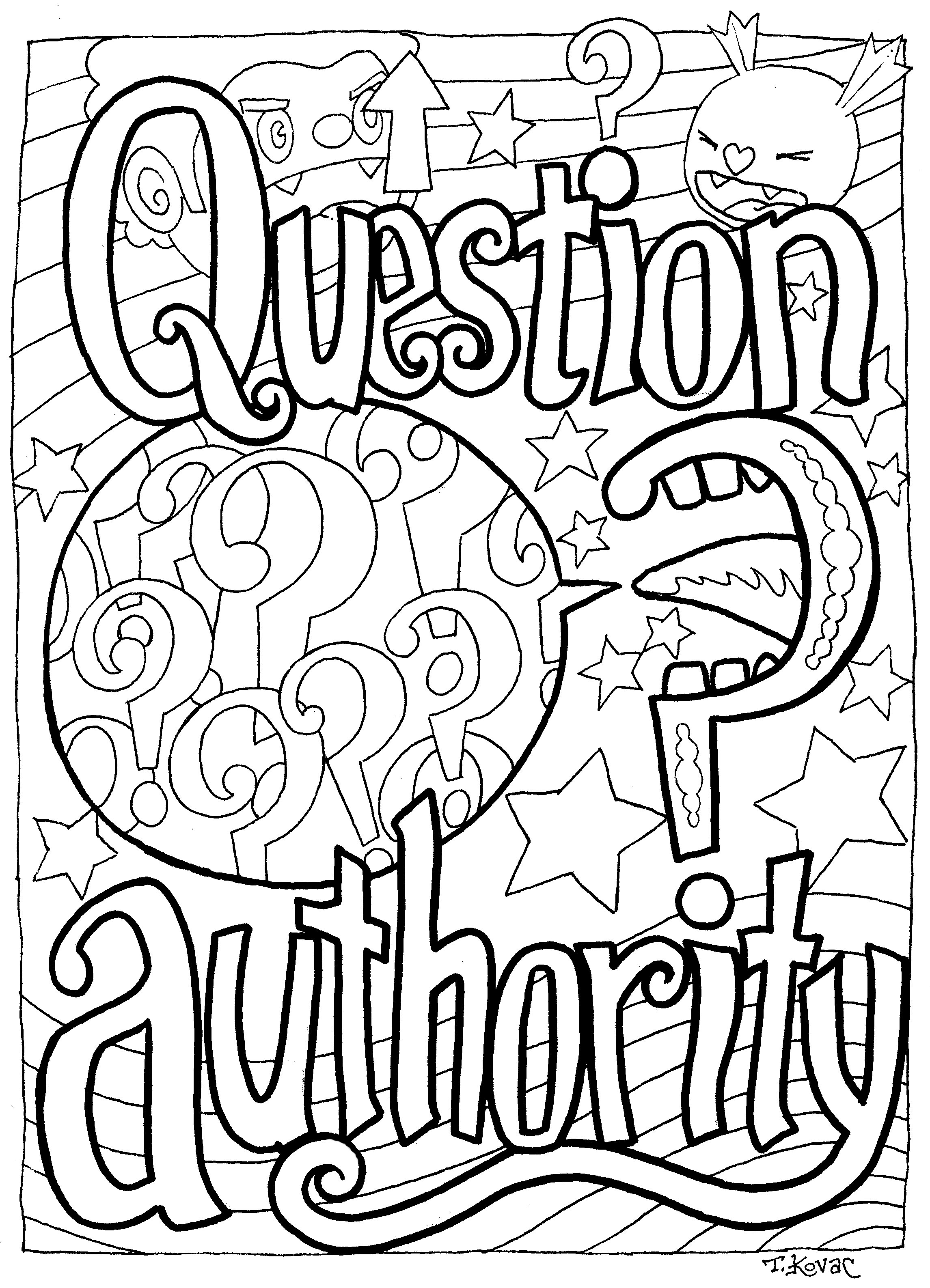 "Coloring Page: ""Question Authority"""