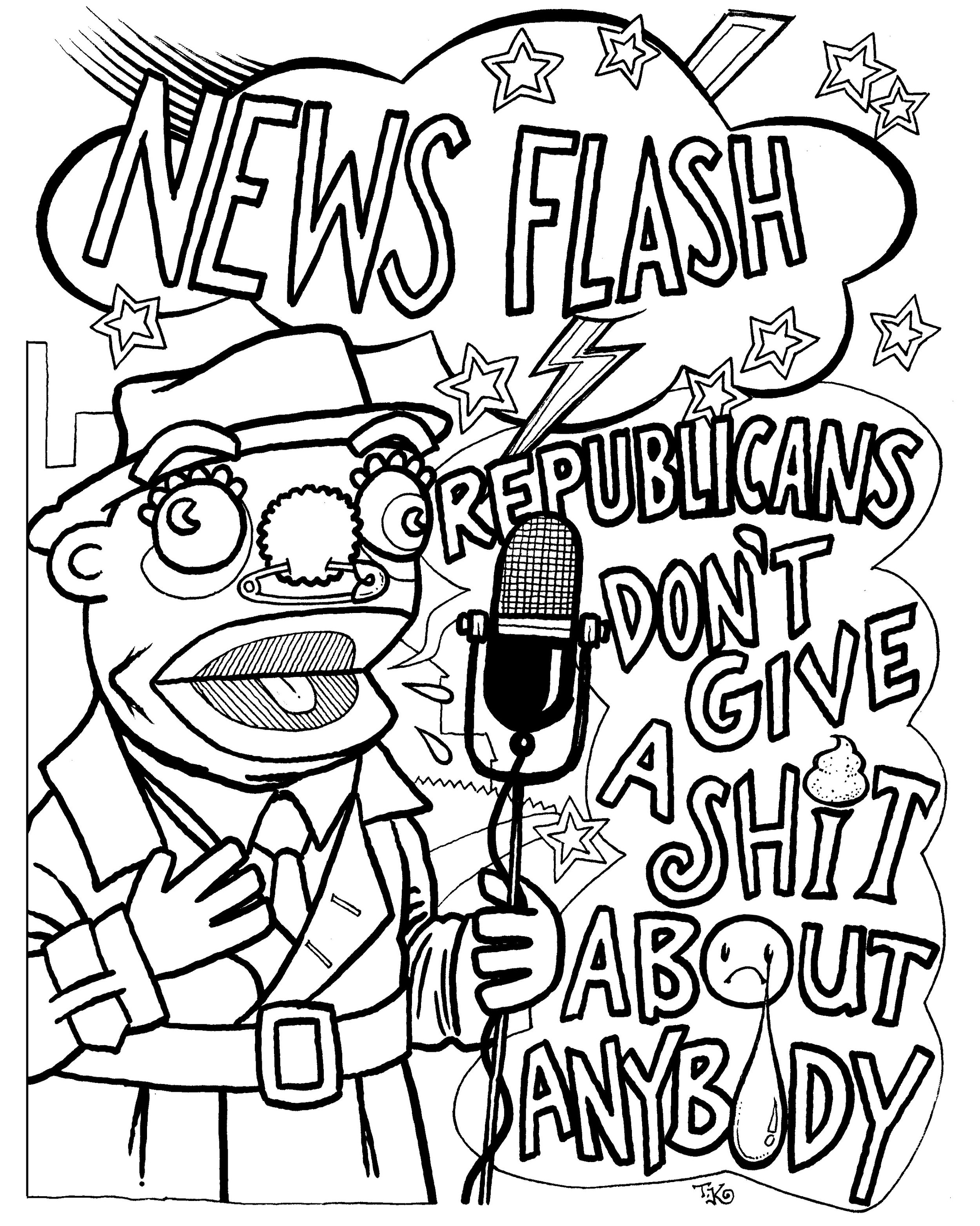 """News Flash"" coloring page"