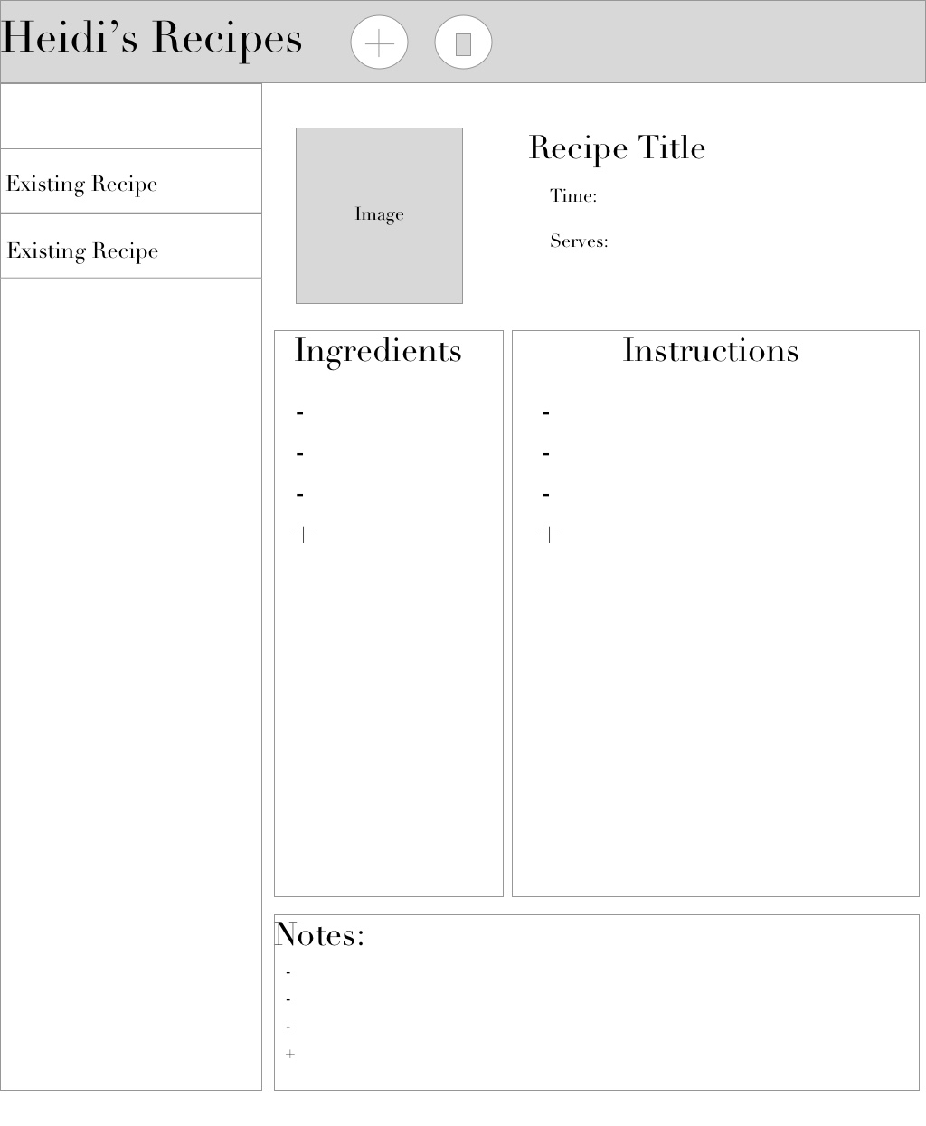 Recipe Development App (web)