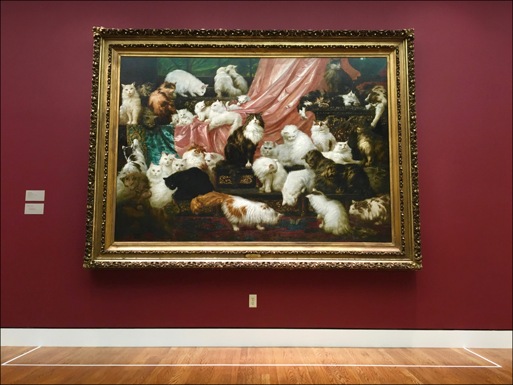 Commissioned in 1891 by California socialite Kate Birdsall Johnson, the 6-by-8.5-foot portrait celebrates her fabulous menagerie of exotic felines.