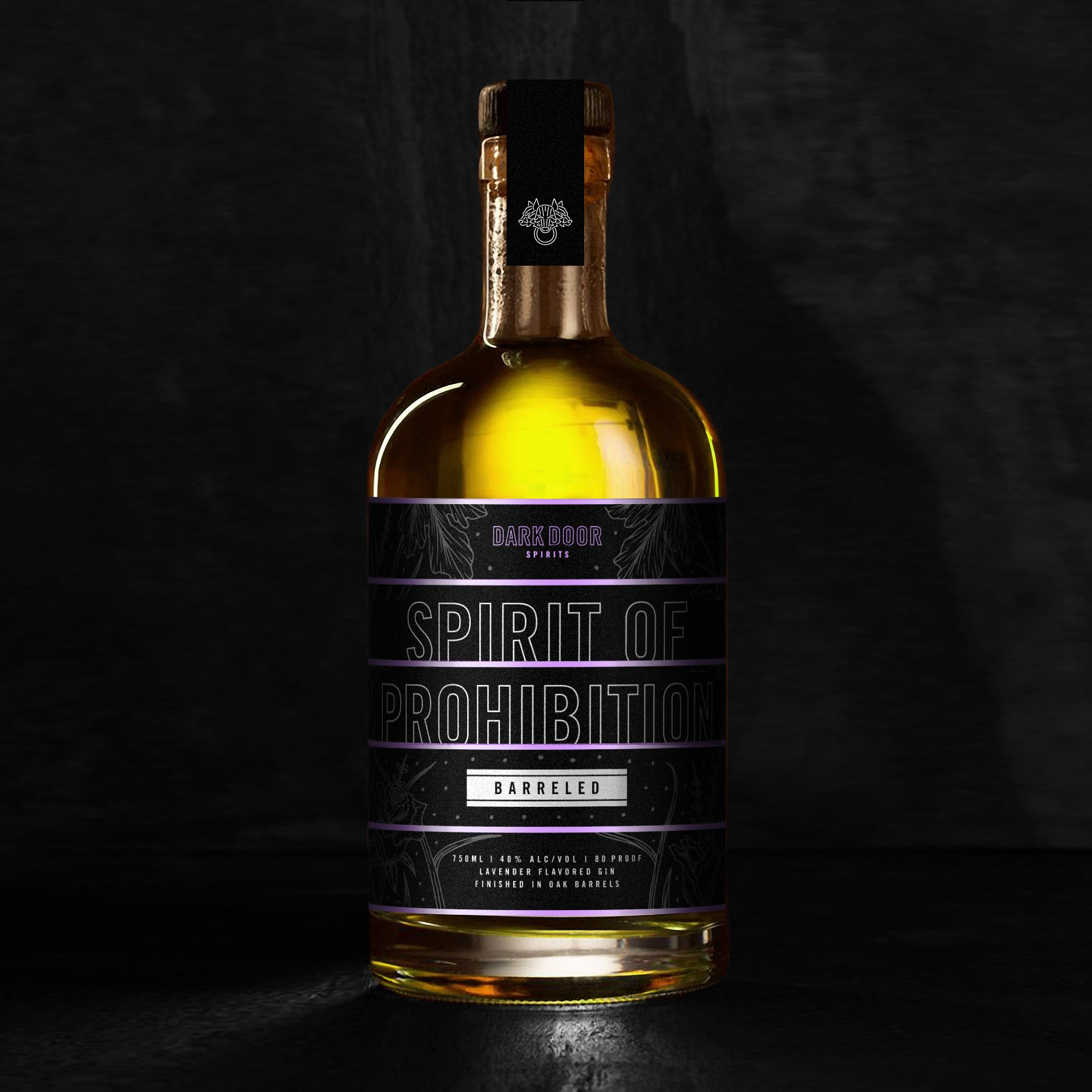 BARRELED SPIRIT OF PROHIBITION - Fresh lavender buds are macerated providing dry lavender notes upon the nose and a unique color to the spirit. As it develops in the glass, hints of coriander, citrus, and rose shine through.