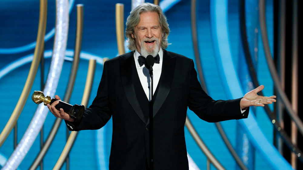 Jeff Bridges accepting the Cecil B. DeMille Award.  (Photo source: Variety)