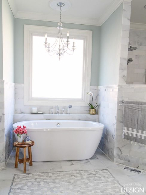 A shelf behind the tub similar to this!