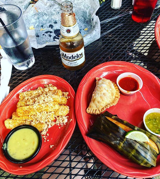 No exaggeration, this one one of the best meals ever. An empanada, a tamale, and yuca fries - please note the empty chip baskets 😋