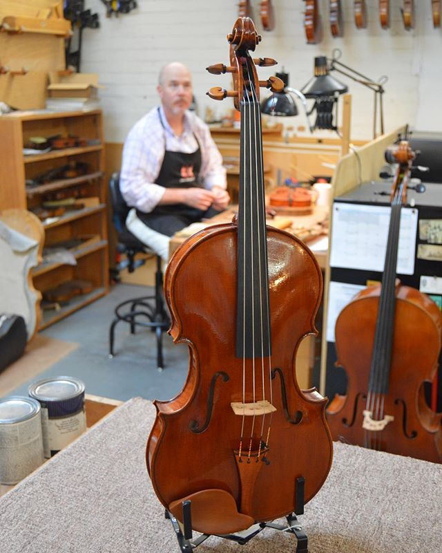 "Brian's newest creation is a 1598 Brothers Amati copy - a 16"" Viola with a rich, open sound. Stop by and play it this weekend! We're open Saturday from 10-4. #Luthier🎻🎻🎻 . . . #ViolinMaker #NCViolinMaker  #MotgomeryViolins #BrianKelly #Viola #BrothersAmati  #HistoricReproduction  #ClassicalMusic #ClassicalMusician #ViolaPlayer #StringedInstrument #MakeMusic #HappyWeekend #LocallyMade #Handcrafted"
