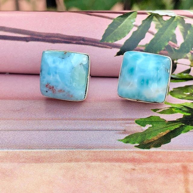Larimar sterling silver stud earrings! Loving these! Handmade in the Dominican Republic. #freedomcollectiveinternational #empoweringartisans #fairtradefashion