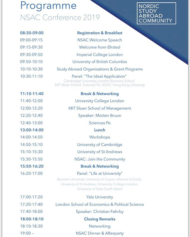 Today's conference schedule #nsac #nsac2019 #nsacconference2019 #conference