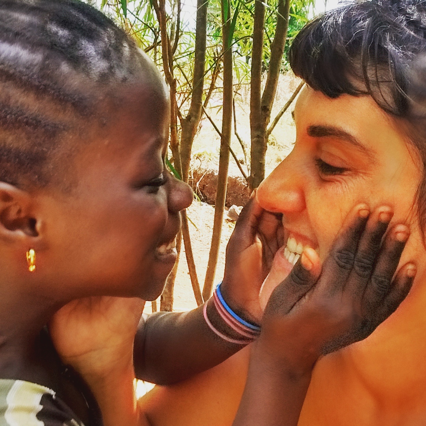 Natalia making friends in Senegal