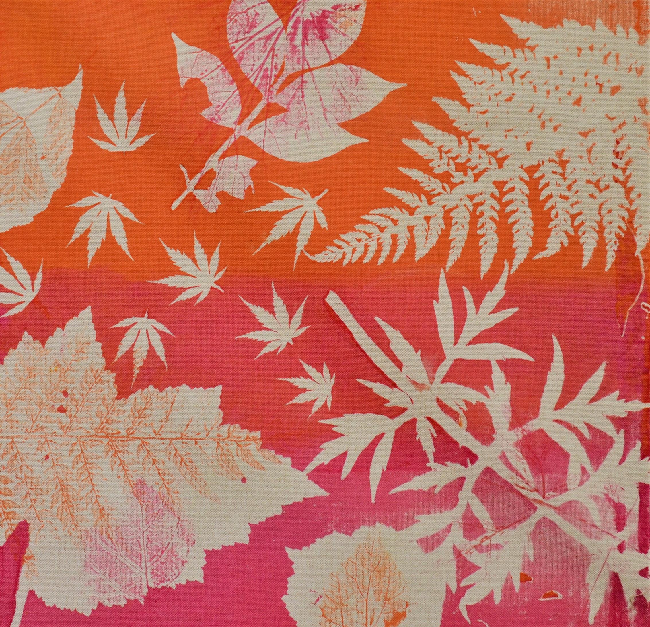 Mono-printed screen print with seasonal leaves