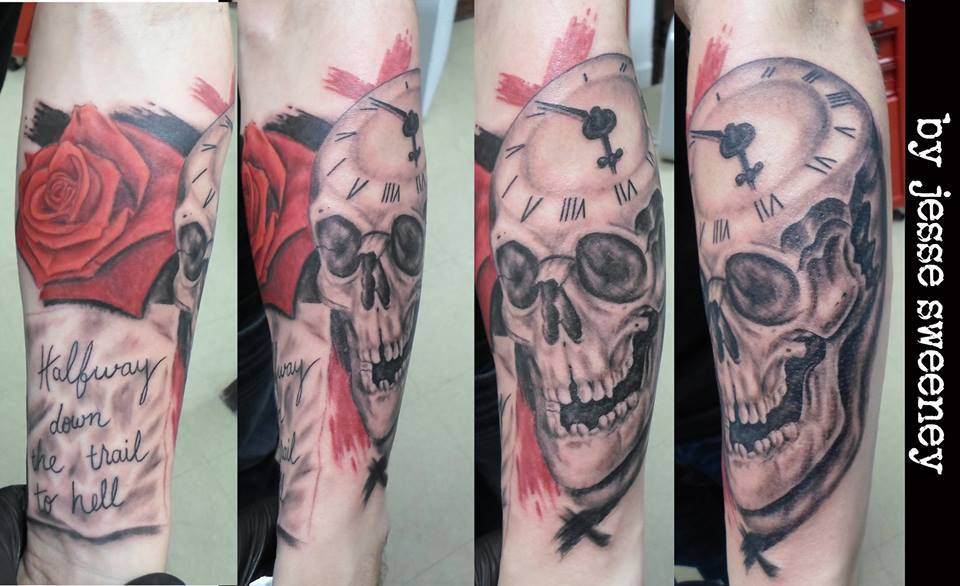 Trash polka skull half sleeve tattoo