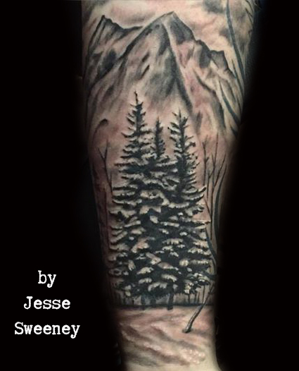 Mountian and tree landscape tattoo
