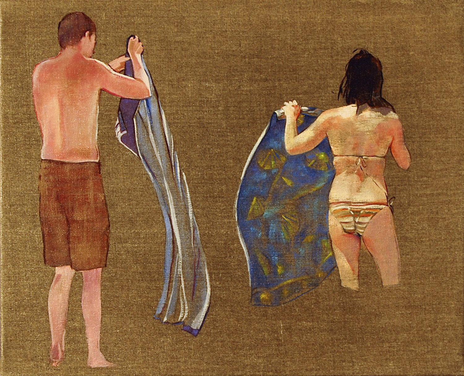 """Two Towels  oil on linen 16"""" x 13"""" 2009"""