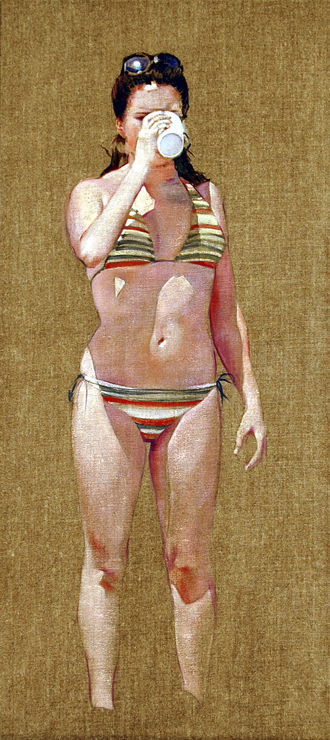 """The Cup  oil on linen on panel 22"""" x 10"""" 2009"""