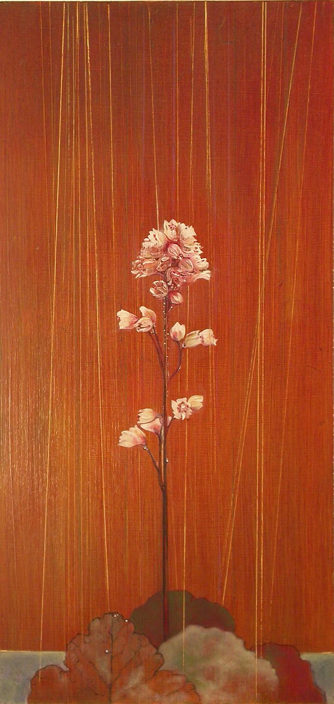 """Flower in the Rain  oil on panel 24""""x11""""2005 *"""