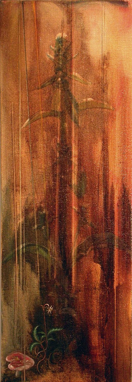 """Mushroom  oil on linen 32""""x11"""" 2005"""
