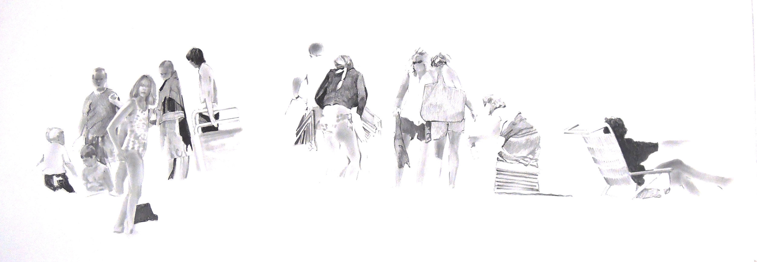 "At the Beach  graphite 28"" x 20"" 2007"