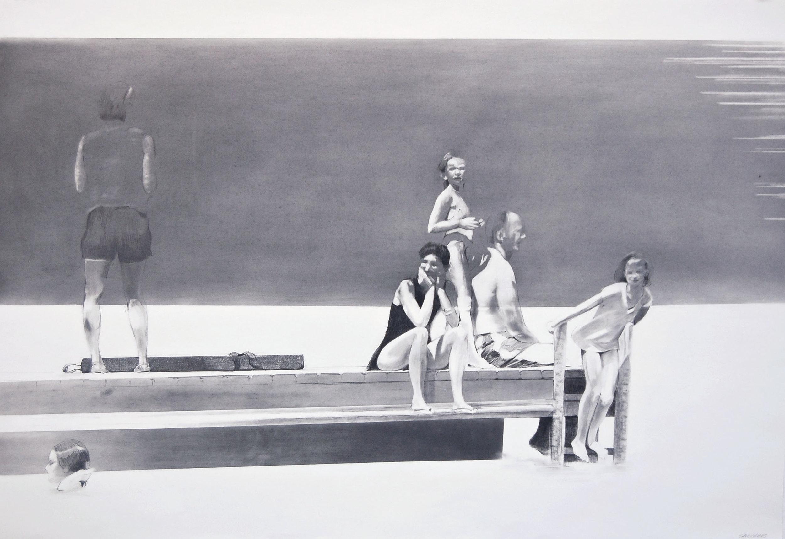 "The Dock   graphite  25"" x 36""  2007"