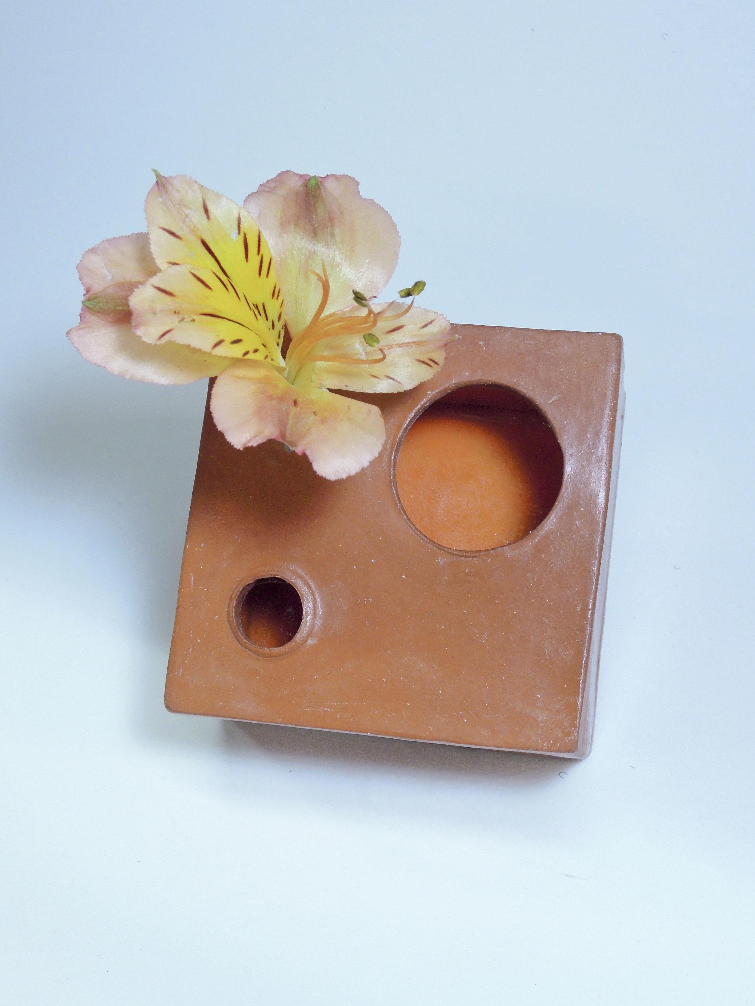 "Ikebana Box  terra cotta, burnished, waxed with orange interior glaze 2.5"" x 2.5"" x 2"" 2019"
