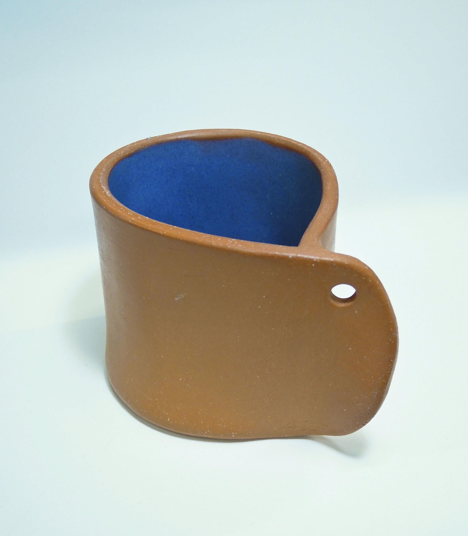 Terra cotta mug burnished, waxed with blue interior glaze 2019