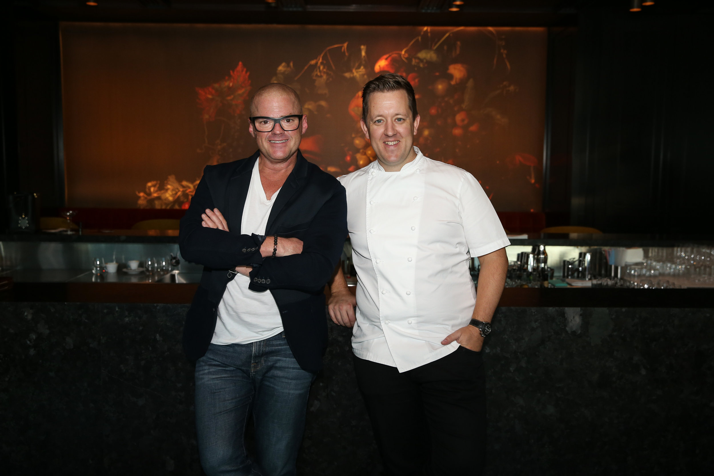 Heston Blumenthal and Ashley Palmer-Watts at Dinner by Heston Blumenthal Melbourne
