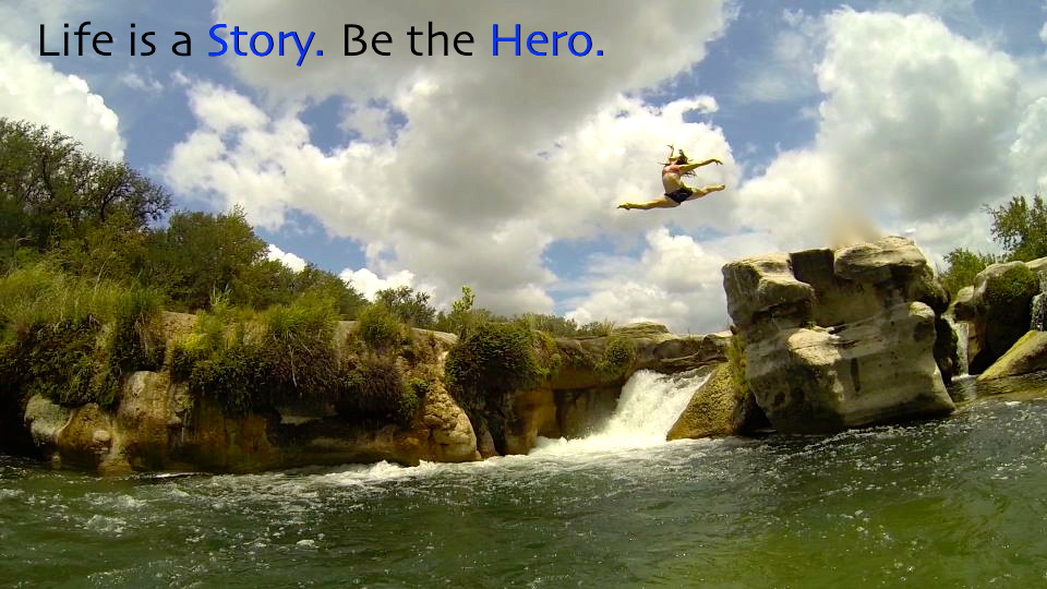 Blue8 Owner, Caitlin Geier, leaps off Dolan Falls at the Devils River in Texas.