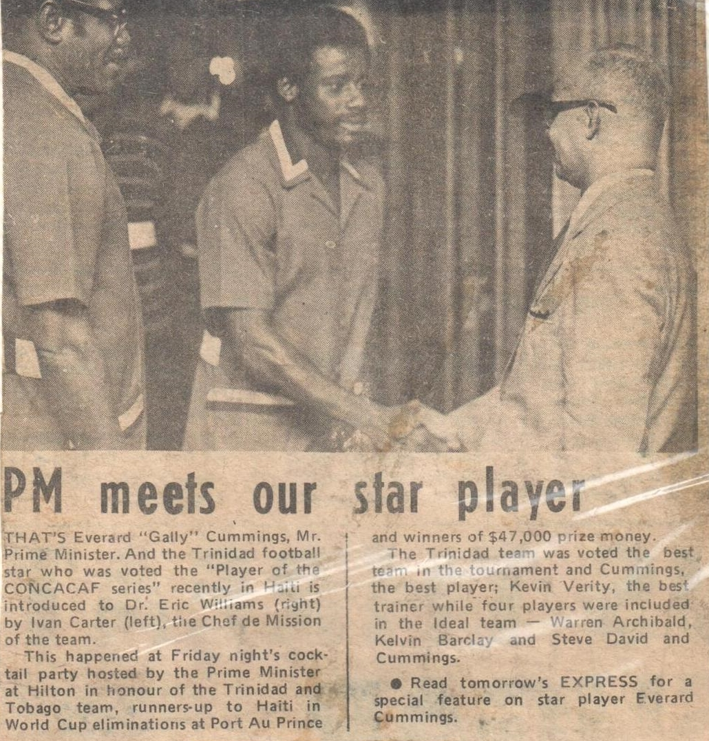"Prime Minister Eric Williams congratulates Everald ""Gally"" Cummings who was voted the MVP of the CONCACAF World Cup Qualifiers for West Germany 1974."
