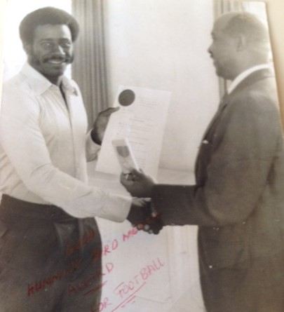 President Sir Ellis Clarke honours Gally with the Hummingbird Gold Medal (1974)