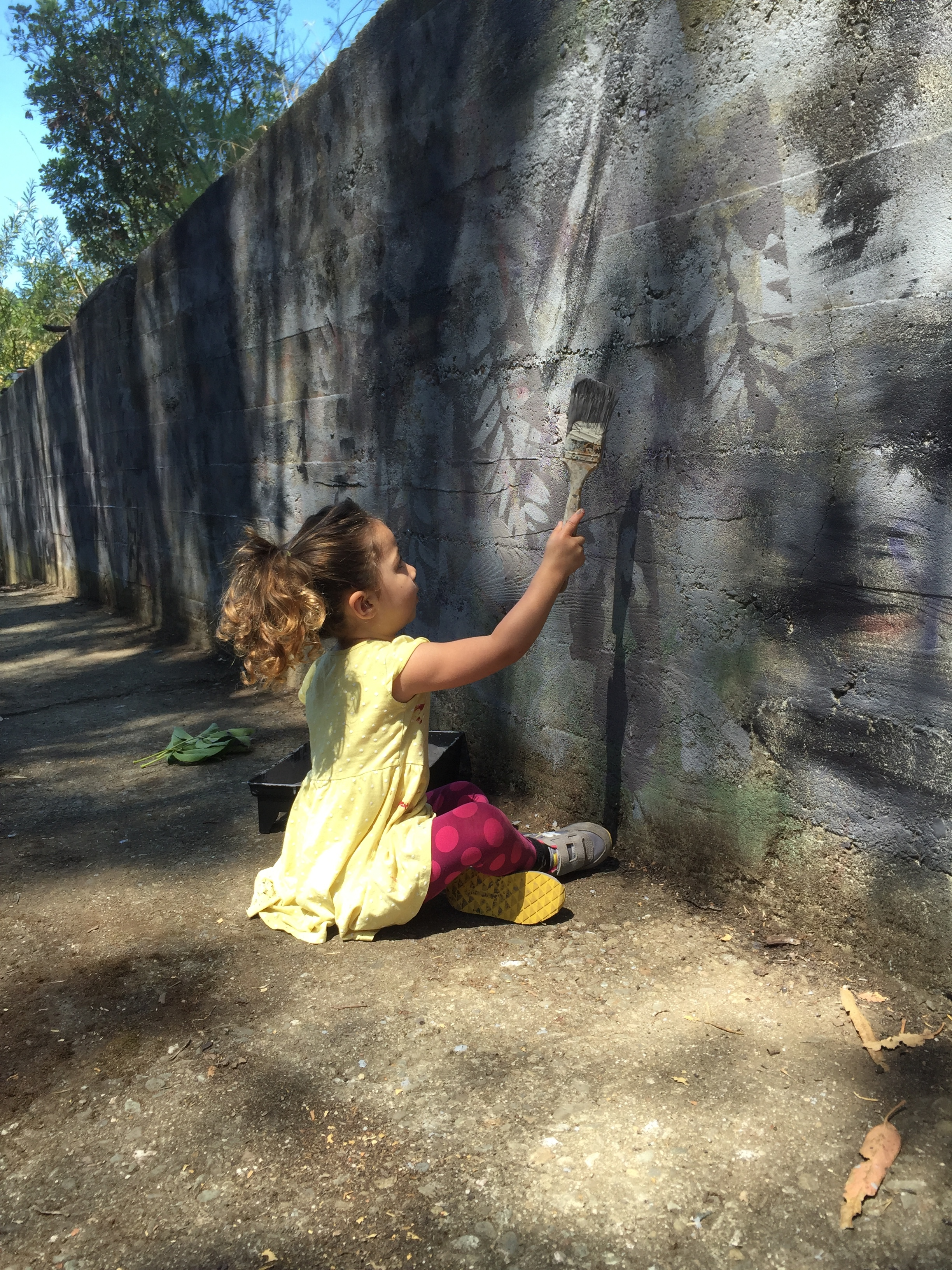 Lucy Shima taking things into her own hands painting over graffiti on the walls of BVAC's reservoir spillway.
