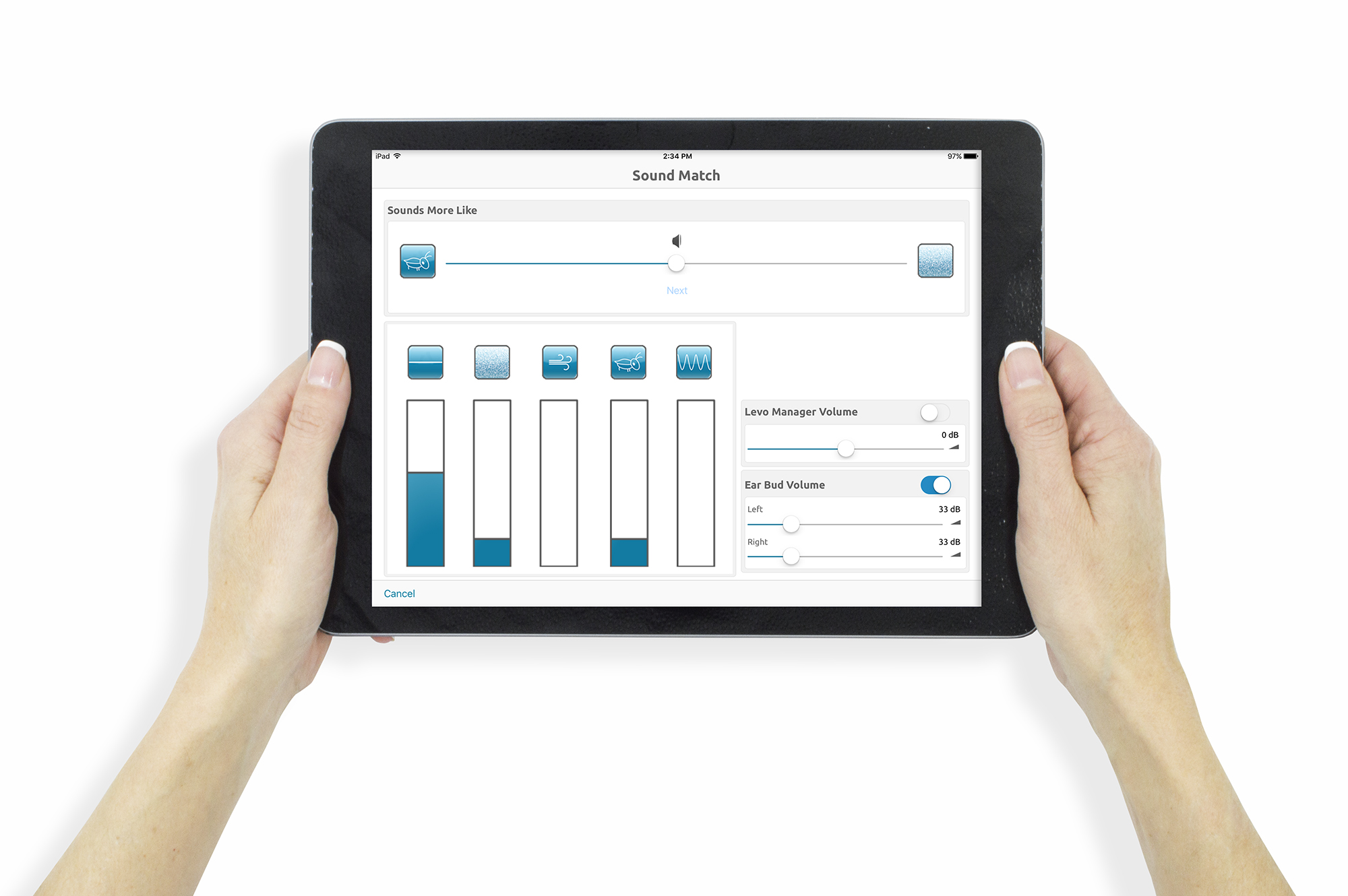 Tinnitus device Apple® iPad Air™ with Levo Manager software sound matching screen
