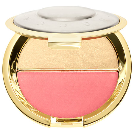 This isn't exactly what I use, as I have a palette that seems to be sold out. This is the next best thing- a blush, highlight duo! I love looking dewy and flushed. Brush the blush starting on the apples of the cheeks, back to the temple. Then either brush or pat in the highlight over the cheekbone. Becca products are very pigmented, so I've found that you just need a little bit.