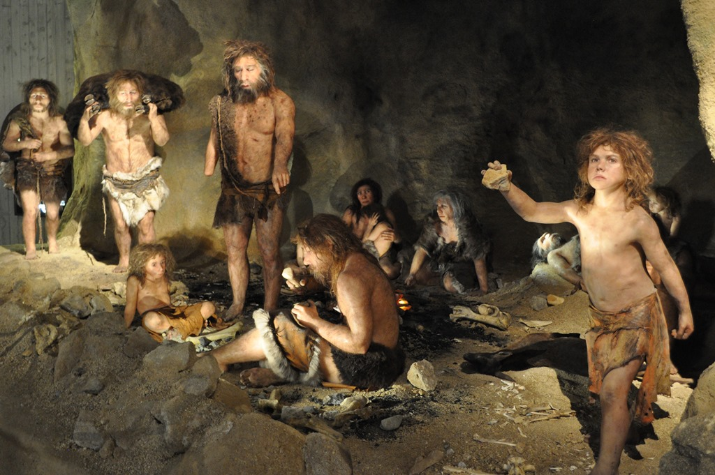 Recreation of a Neanderthal group following reconstruction of DNA.  First published in  Science  by the Johannes Kraus Museum of the University of Oviedo.