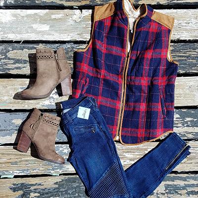 Classic and Casual! Vest: $42 • Jeans: $54 • Booties: $59