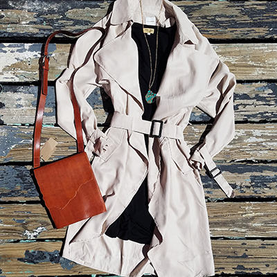 This light-weight trench is perfect for Texas Winters!  Trench: $58 • Crossbody Bag: $64 • Piko Dress: $28