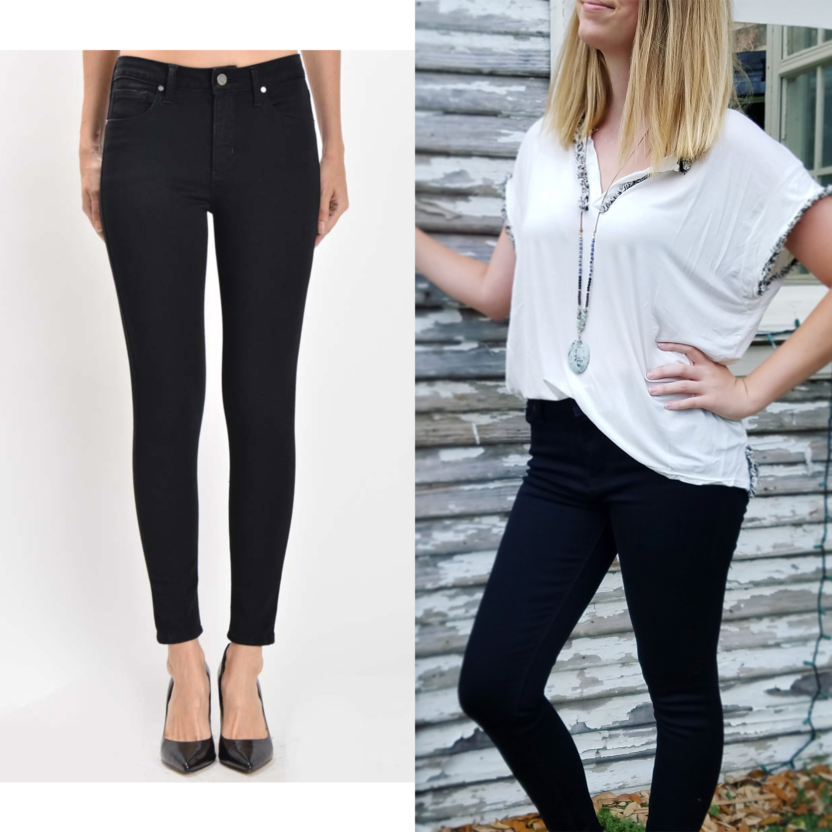 High-Rise, Over-dyed, black skinny jeans