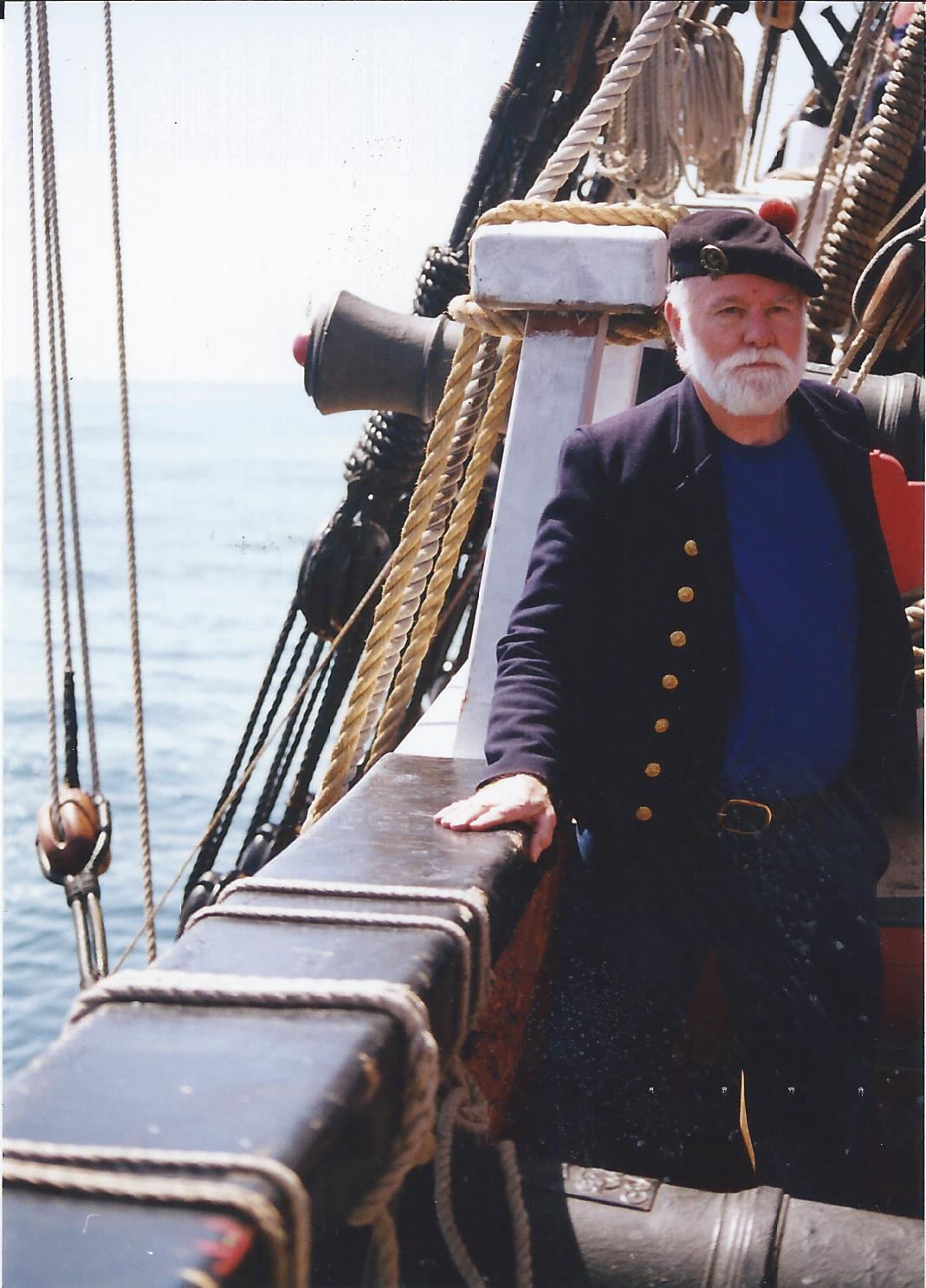 Baron Thomas (1941 -)has spent a lifetime sailing on schooners, Baltimore clippers, brigantines, barkentines, ketches and sloops, and has also traversed the globe on research vessels with Scripps Oceanography. Baron has been a shipwright and ship's cannoneer to boot.