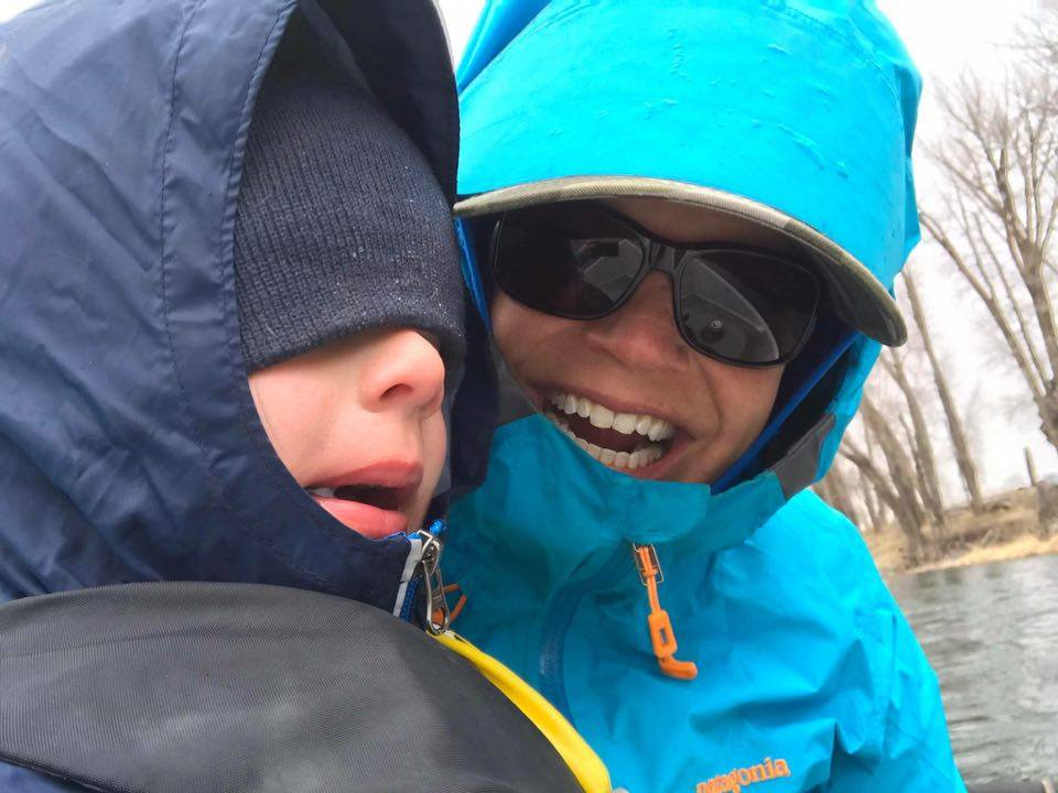 Clairey and her son Tanner Enjoying Full Conditions on the Snake River.