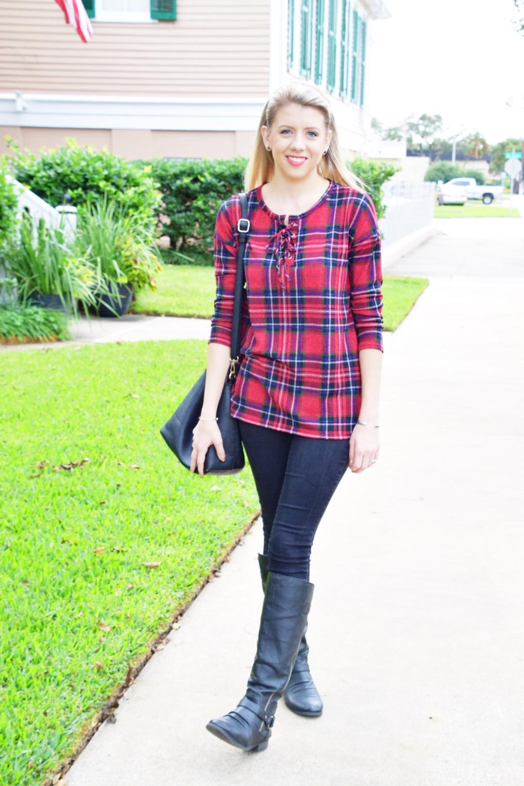 Houston Fashion Blogger - Shop PinkBlush - Plaid Shirt (2).JPG