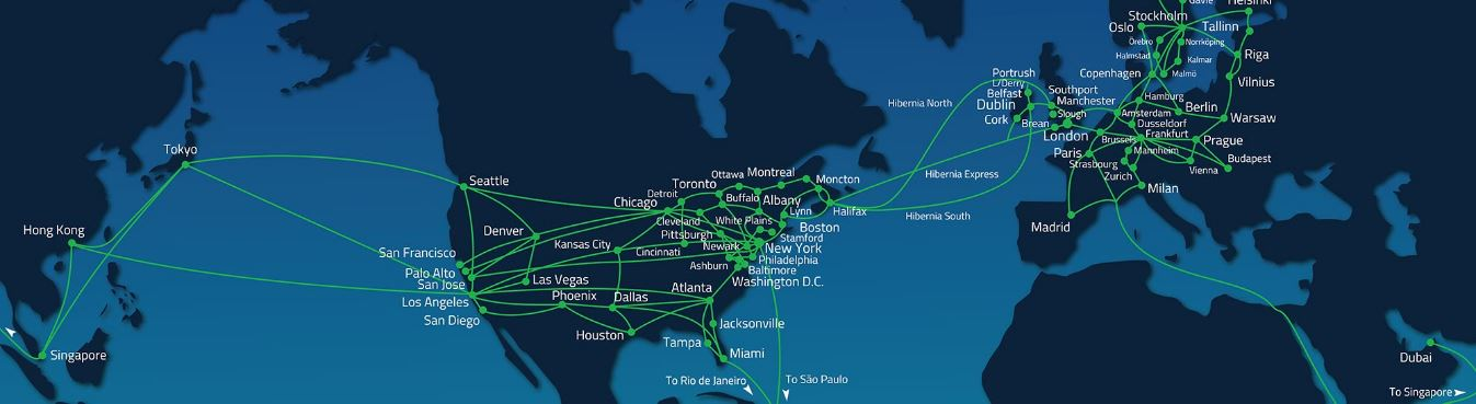 Hibernia Networks Global Route Map