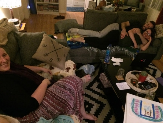 Sometimes classes involve cuddling on the couch! We love working with clients in such an intimate setting.