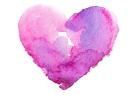 Pink watercolor heart Laguna postpartum doula newborn help