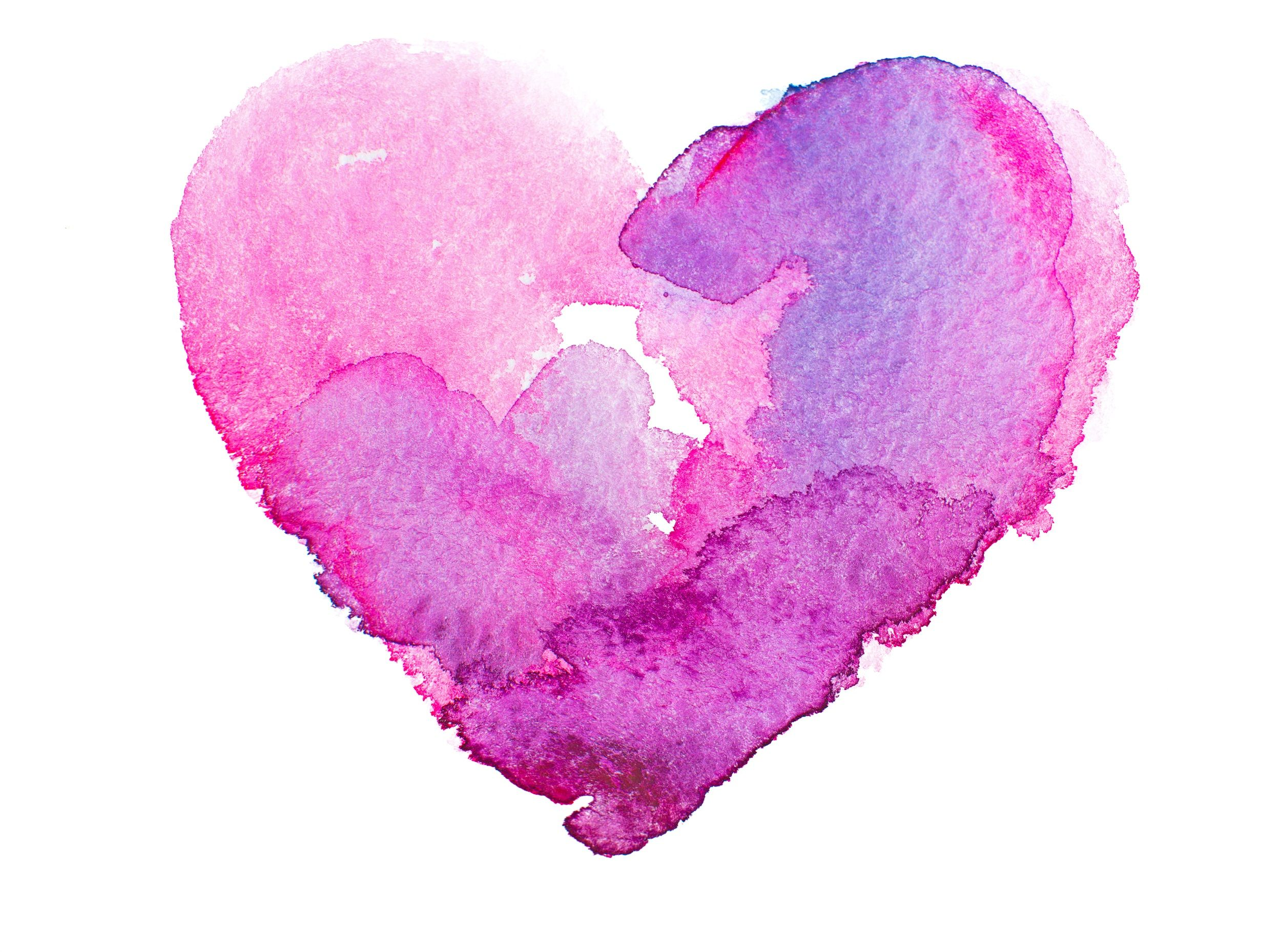 Pink watercolor heart Irvine labor doula